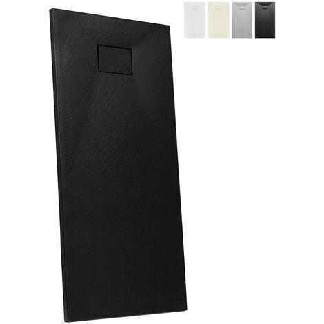 Plato de ducha a ras de suelo de resina rectangular 170x70 Stone | Color: Negro