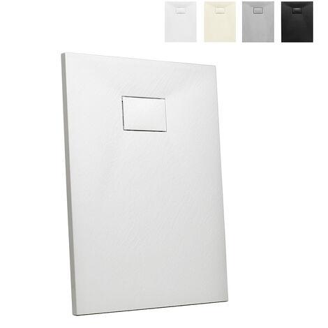 Plato de ducha rectangular a ras de suelo de resina 90x70 Stone | Color: Blanco