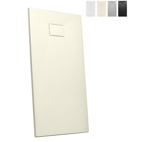 Plato de ducha a ras de suelo rectangular de resina 160x80 Stone | Color: Beige