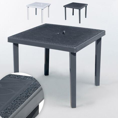 Mesa de bar cuadrada de poliratán 90x90 Grand Soleil Gruvyer   Negro