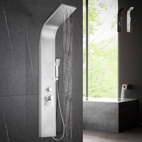Columna de ducha Diseño Moderno de acero con mezclador de ducha en cascada de hidromasaje Monticelli   Color: Silver