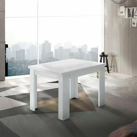 Mesa extensible blanca de diseño moderno 90-180x90cm salón y cocina Jesi Liber