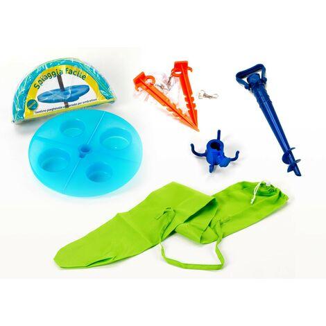 Kit accesorios playa punta sombrilla funda mesa Spiaggia Facile