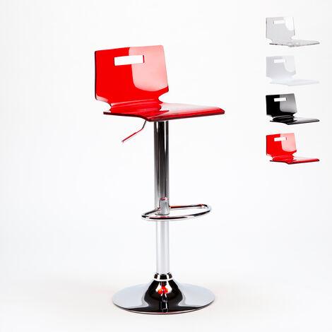 Taburete bar y cocina acero cromado diseño moderno San José | Rojo