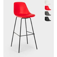 Taburete alto de metal para barra de cocina con cojín de diseño moderno Willis   Rojo