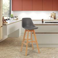 Taburete alto con cojín de diseño escandinavo para bar y cocinaWillis Wood   Gris