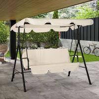 Balancín de jardín con 3 asientos techo impermeable de techo de acero Rol