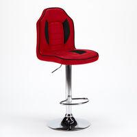 Taburete salas de juego y bar de cuero polipiel Diseño Racing | Rojo 2