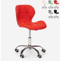 Silla giratoria taburete oficina altura regulable con ruedas Ratal   Rojo