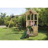 Aire de jeux en bois enfants 3-12 ans, toboggan vert foncé, 2 balancoires, bac a sable et mur d'escalade