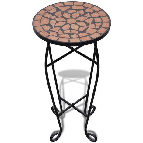 vidaXL Mesa auxiliar mosaico para plantas terracota - Naranja