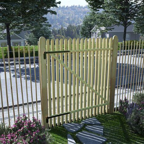 vidaXL Puerta de valla postes madera de pino impregnada 100x125 cm - Marrón