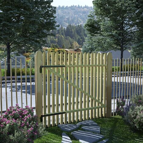vidaXL Puerta de valla de postes madera pino impregnada 100x100 cm - Marrón