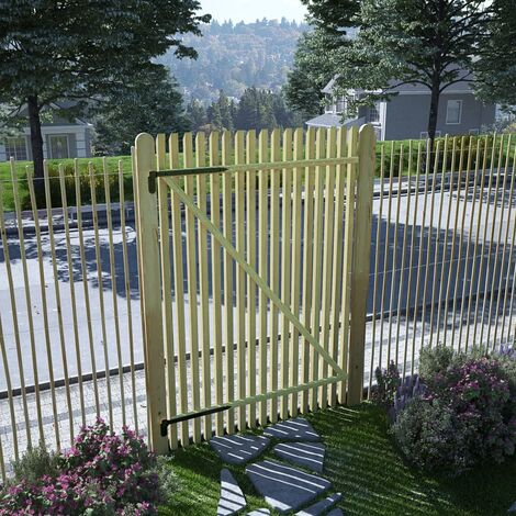 vidaXL Puerta de valla postes madera de pino impregnada 100x150 cm - Marrón