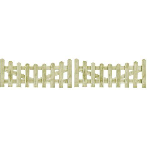 vidaXL Puertas de valla 2 uds madera de pino impregnada 150x60 cm - Verde
