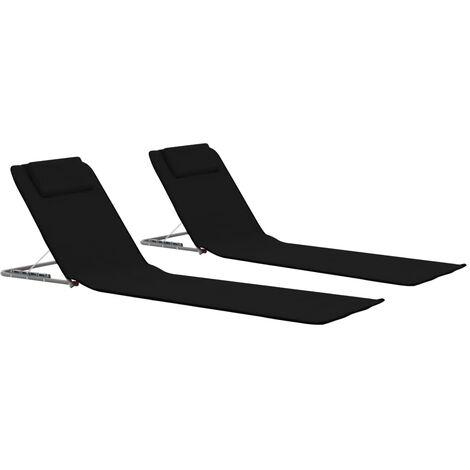 vidaXL Estera de playa plegable 2 unidades acero y tela negra - Negro