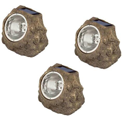 Luxform Focos de jardín en forma de roca luz solar Andes 3 unidades - Gris