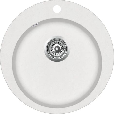 vidaXL Fregadero de cocina de granito con un seno redondo blanco - Blanco