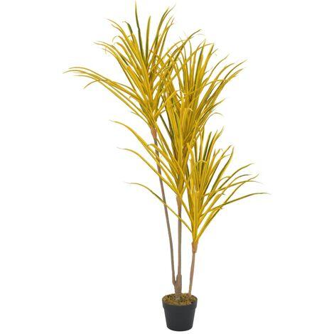 vidaXL Planta artificial drácena con macetero 125 cm amarilla - Verde