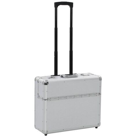 vidaXL Maleta trolley de piloto de aluminio plateado 54x44x21 cm - Plateado