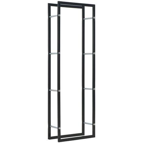 vidaXL Leñero de acero negro 50x20x150 cm - Negro