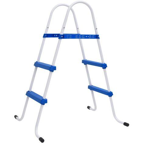 Escalera de Piscina Marco de Acero con Pasos Antideslizantes 86,5 cm - Azul
