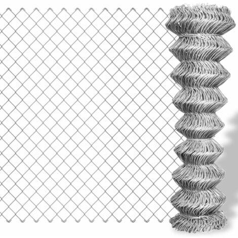 vidaXL Valla de tela metálica acero galvanizado plateado 25x1,25 m  - Plateado