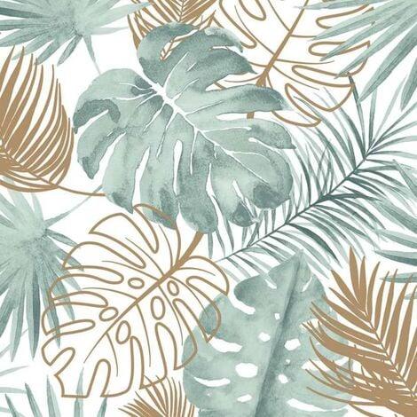 DUTCH WALLCOVERINGS Papel pintado hojas de monstera verde - Verde
