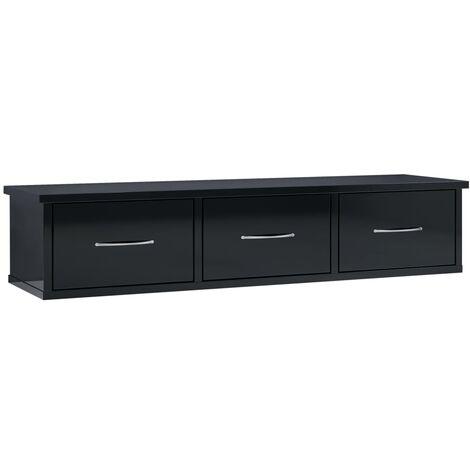 vidaXL Estante con Cajones de Pared Aglomerado 90x26x18,5 cm Negro Brillo - Negro