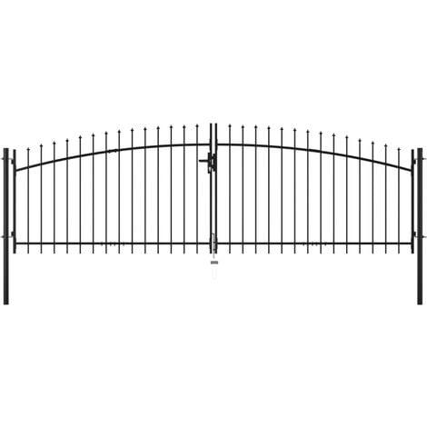 vidaXL Puerta doble para valla con puntas de lanza 400x150 cm - Negro