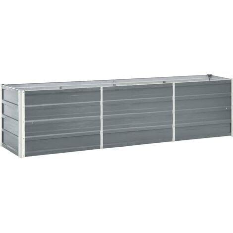 vidaXL Arriate de jardín de acero galvanizado gris 240x40x45 cm - Gris