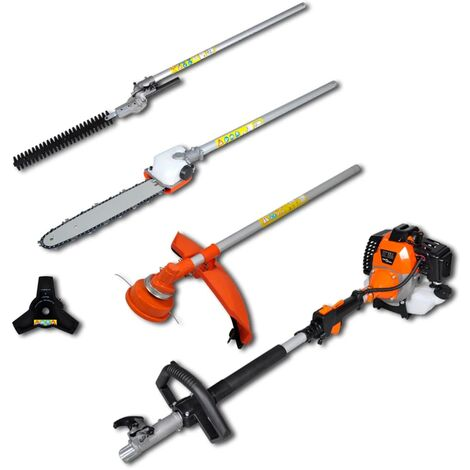 vidaXL Cortasetos sierra de cadena desbrozadora y recortador de césped - Naranja