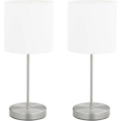 vidaXL Lámparas de mesa 2 unidades con botón táctil blanco E14 - Blanco