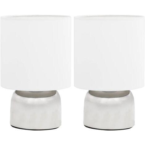 vidaXL Lámparas de mesa táctiles 2 unidades blanco E14 - Blanco