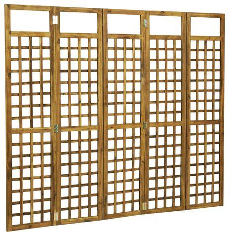 vidaXL Biombo/Enrejado de 5 paneles madera maciza de acacia 200x170 cm - Marrón