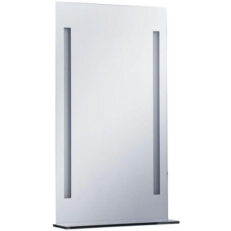 vidaXL Espejo de pared de baño con LED y estante 60x100 cm - Plateado