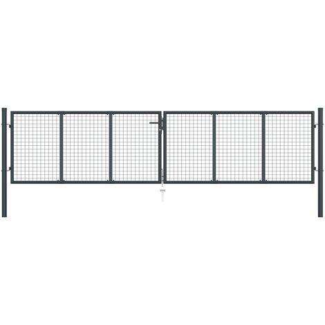 vidaXL Puerta de malla de jardín acero galvanizado gris 400x125 cm - Gris