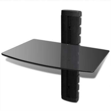 vidaXL Estante de Pared para Aparatos DVD de Vidrio Negro 1 Nivel - Negro