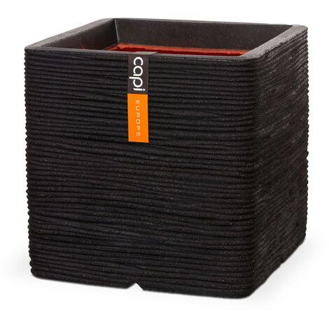 Capi Maceta cuadrada Nature Rib negro 50x50 cm - Negro