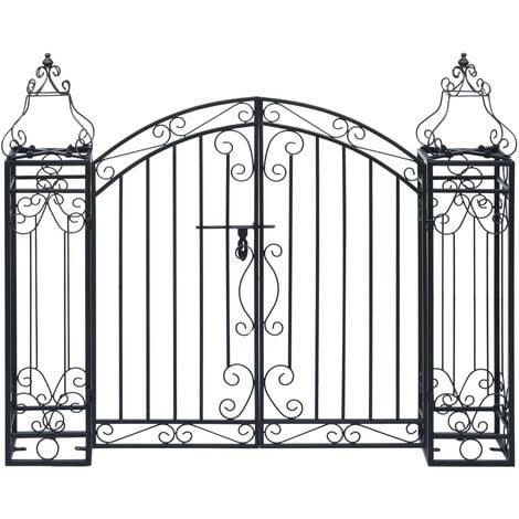 vidaXL Puerta de jardín decorativa de hierro forjado 122x20,5x100 cm - Nero