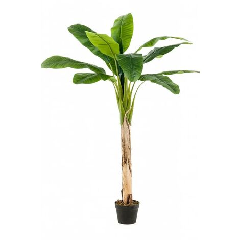 Emerald Árbol bananero artificial con maceta 120 cm  - Verde