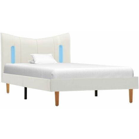 vidaXL Estructura de Cama con LED Cuero Sintético Blanco 100x200 cm - Blanco