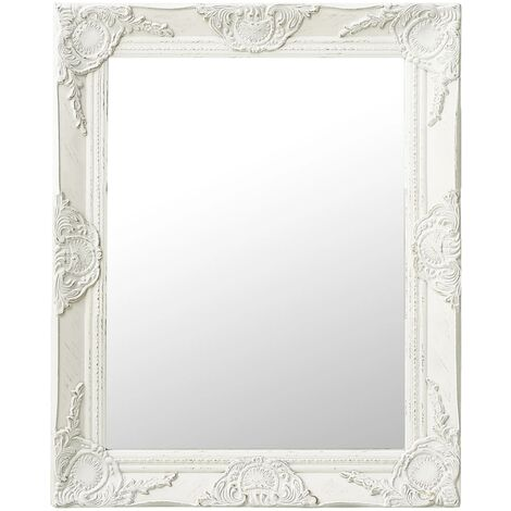 vidaXL Espejo de pared estilo barroco blanco 50x60 cm - Blanco