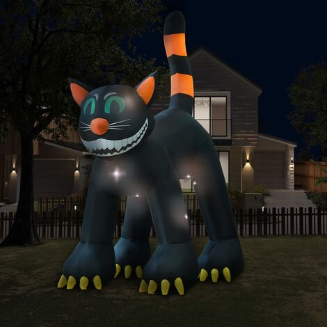 vidaXL Gato negro inflable de Halloween con LED XXL 6 m - Negro