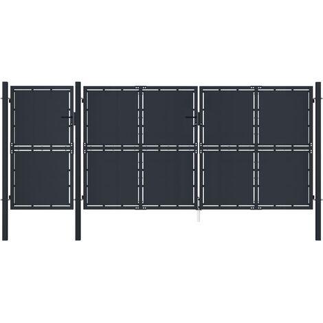 vidaXL Puerta de jardín metal gris antracita 4x2 m - Antracita