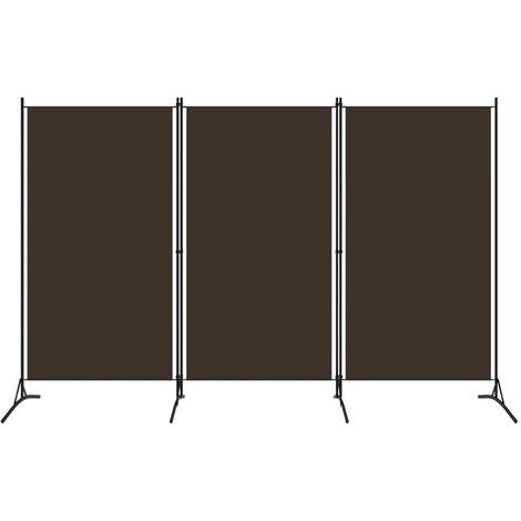 vidaXL Biombo divisor de 3 paneles marrón 260x180 cm - Marrón