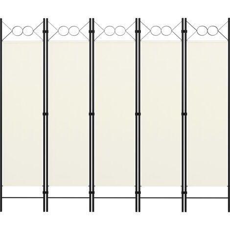 vidaXL Biombo divisor de 5 paneles blanco crema 200x180 cm - Crema