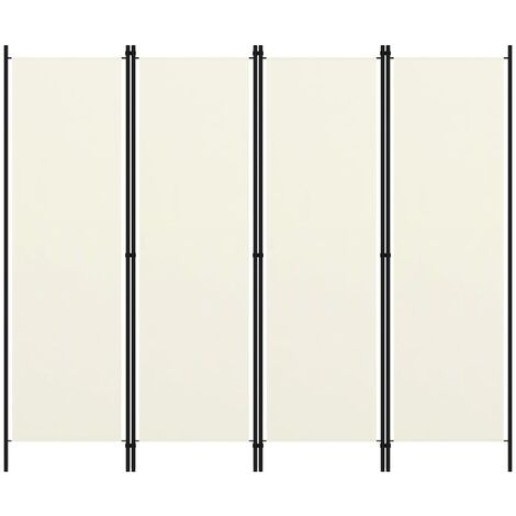 vidaXL Biombo divisor de 4 paneles blanco crema 200x180 cm  - Crema
