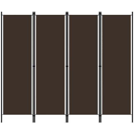 vidaXL Biombo divisor de 4 paneles marrón 200x180 cm - Marrón