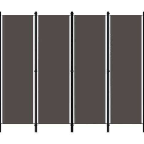 vidaXL Biombo divisor de 4 paneles gris antracita 200x180 cm - Antracita